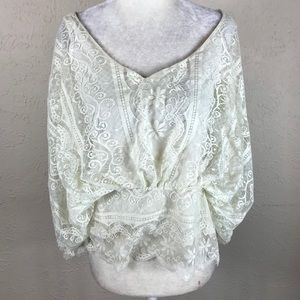 Paper + tee lace boho top small